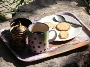 India. Himachal Pradesh.  Morning tea and biscuits.